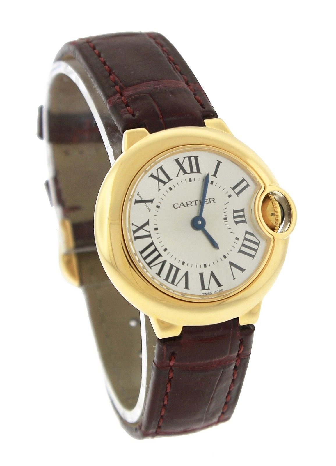 Cartier Ballon Bleu W6900156 18K Yellow Gold & Leather Silver Dial