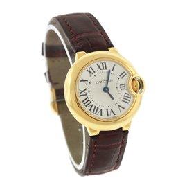 Cartier Ballon Bleu W6900156 18K Yellow Gold & Leather Silver Dial Quartz 28mm Womens Watch