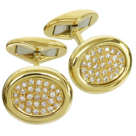 Piaget 18K Yellow Gold Pave Diamonds Cufflinks