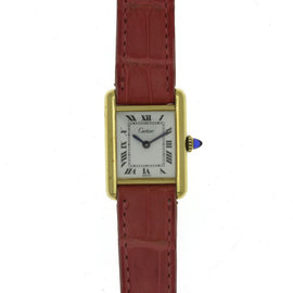 Cartier Tank Must De 18K Gold Vermeil & Leather Strap Manual 20.7mm Womens Watch