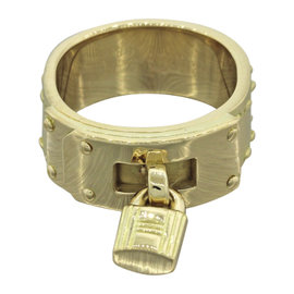 Hermes Kelly Bag 18K Yellow Gold Moveable Lock Charm Band Ring Size 6.5
