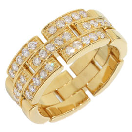 Cartier 18K Yellow Gold Mailon Panthere Diamonds Ring Size 7.25