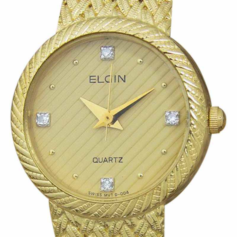 "Image of ""Elgin Dsi11 Stainless Steel and Gold Plated Quartz Vintage 22mm Womens"""