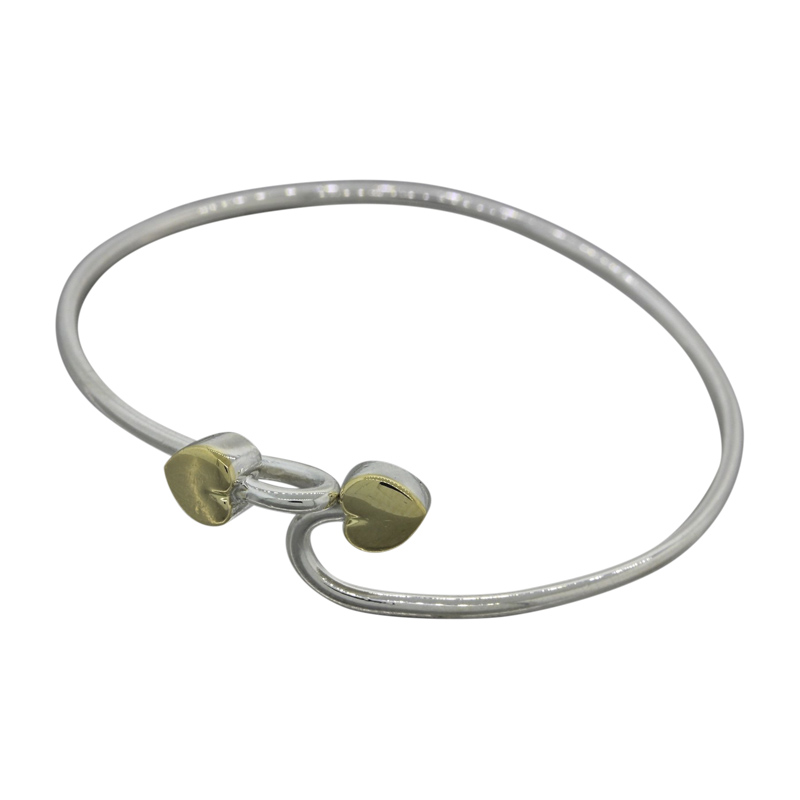 "Image of ""Tiffany & Co. Sterling Silver Double Heart Hook Bangle Bracelet"""