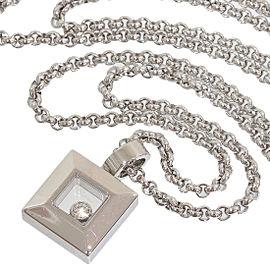 Chopard 18K White Gold Happy Diamond Square Pendant Necklace