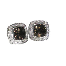 David Yurman 925 Sterling Silver Smoky Quartz Diamond Albion Petite Earrings