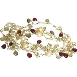 David Yurman 18K Yellow Gold Bead Pearl & Multi Gemstone Necklace