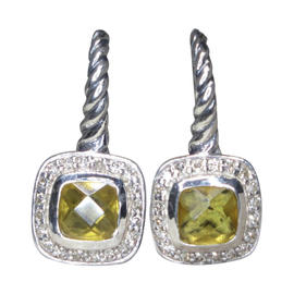 David Yurman 925 Sterling Silver Citrine Diamond Dangle Earrings