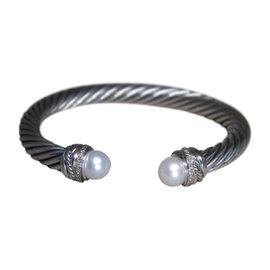David Yurman 925 Sterling Silver Pearl .14ct Diamond Crossover Cuff Bracelet