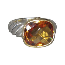 David Yurman 18K Yellow Gold & 925 Sterling Silver Noblesse Citrine Ring Size 7.5