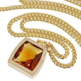 Cartier 18K Yellow Gold LaDonna Diamonds & Citrine Chain Necklace