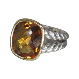 David Yurman Noblesse 18K Yellow Gold & 925 Sterling Silver Citrine Ring Size 7
