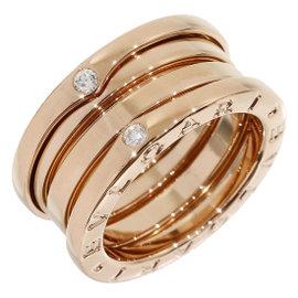 Bulgari 18K Rose Gold Diamonds 3-Band Ring Size 4.25