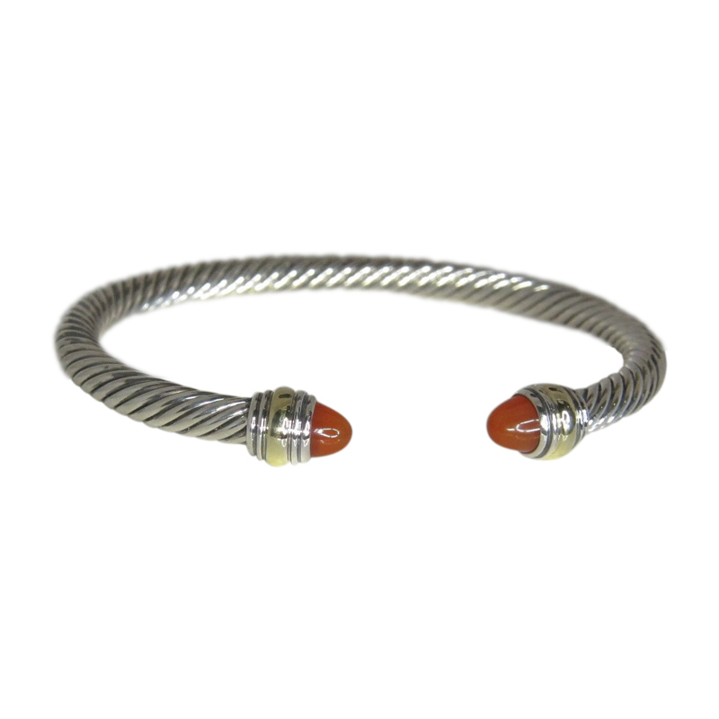 "Image of ""David Yurman 14K Yellow Gold & 925 Sterling Silver Carnelian Cable"""