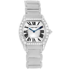 Cartier Tortue WA5072W9 18K White Gold Diamond 28mm Womens Watch