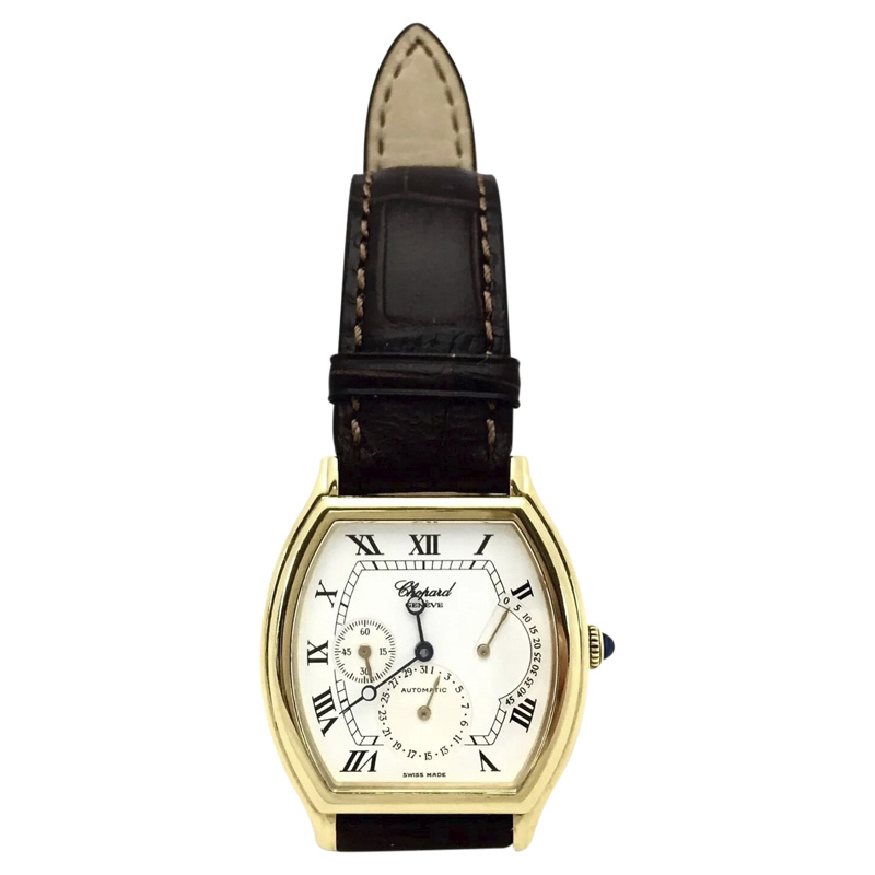 """Image of """"Chopard 18K Yellow Gold & Leather White Dial Automatic 32.50 mm Men's"""""""