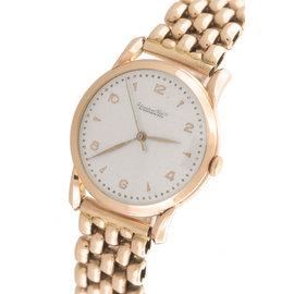 IWC Schauffhausen 18K Rose Gold Silver Arabic Dial 36mm Mens Watch
