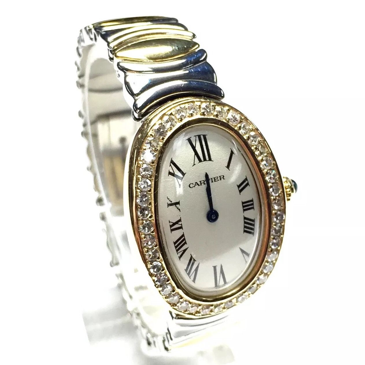 """Image of """"Cartier Baignoire 2 Tone 18k Yellow Gold & Stainless Steel 23mm Womens"""""""