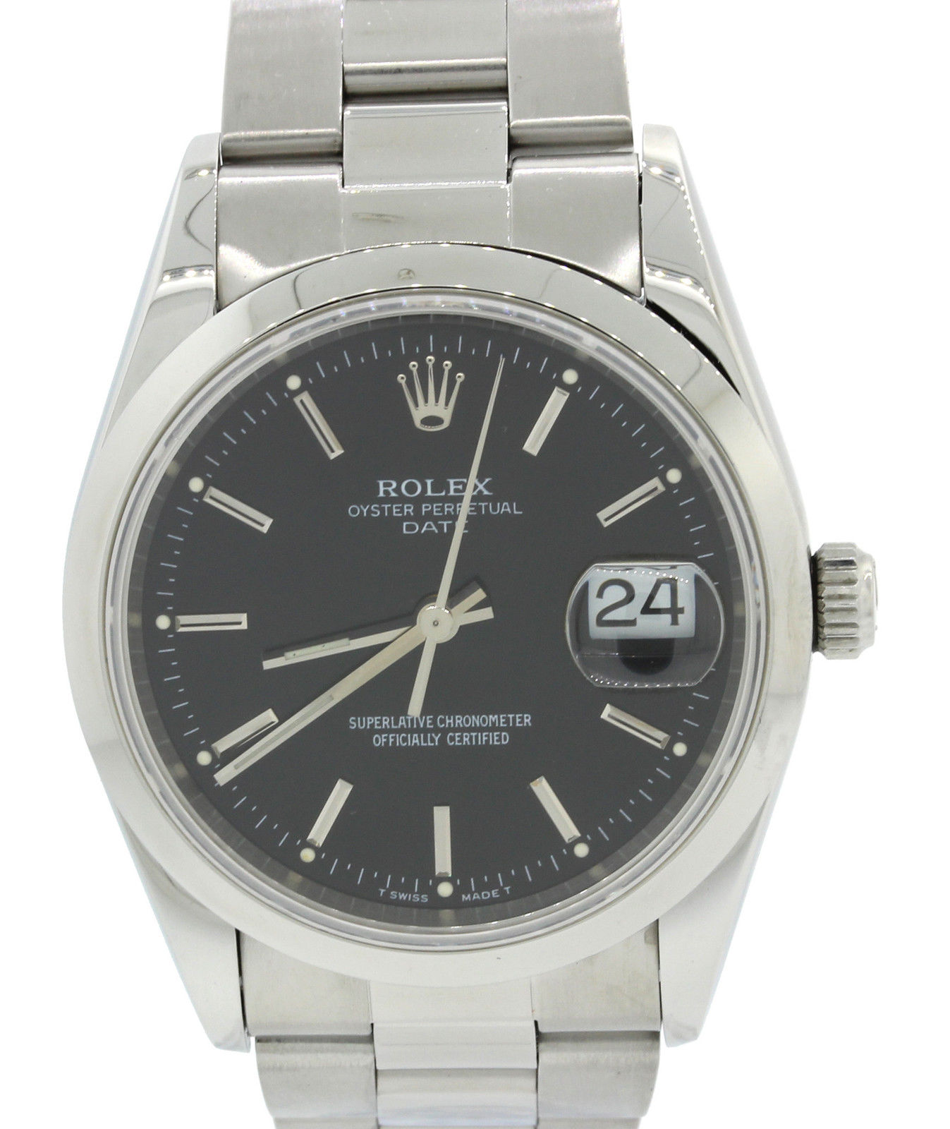 """Image of """"Rolex Date Oyster Perpetual 15200 Stainless Steel with Black Dial 34mm"""""""
