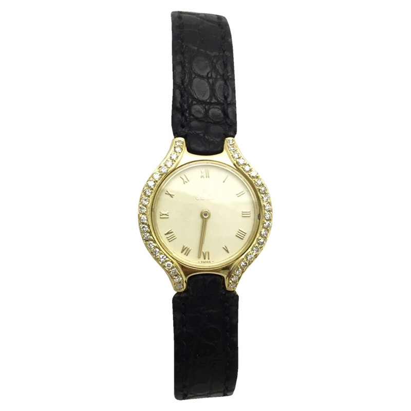 "Image of ""Ebel 18K Yellow Gold with Custom Diamonds & Black Leather Band 24.5mm"""