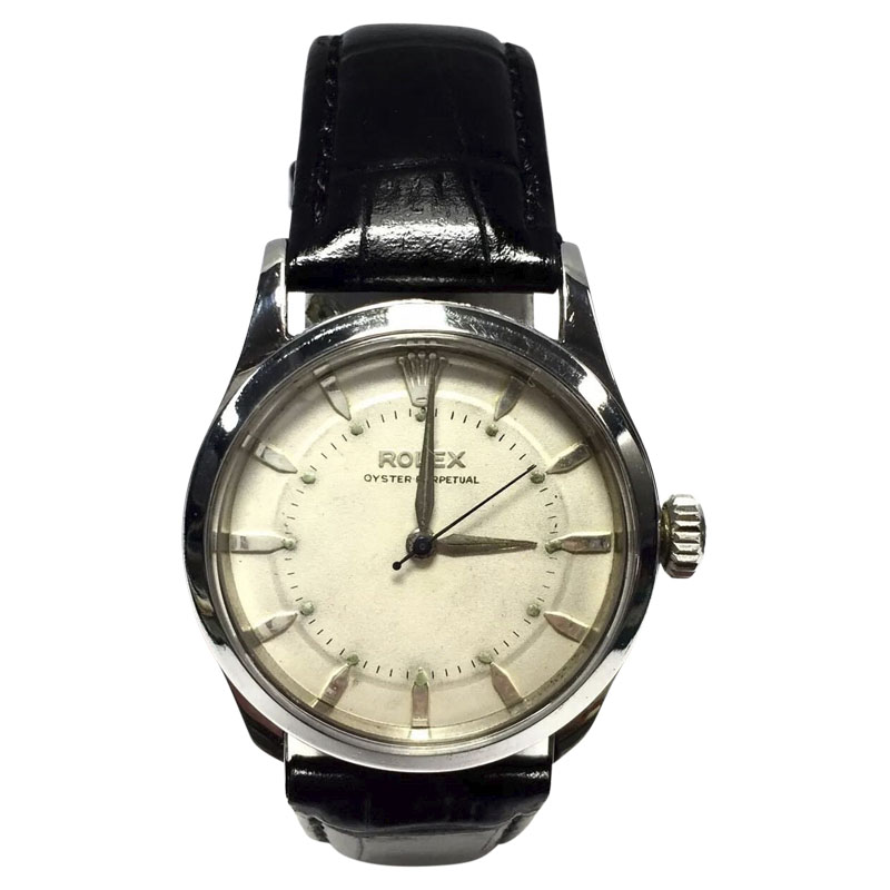 "Image of ""Rolex Oyster Perpetual Stainless Steel / Leather with White Color"""
