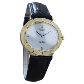 Rolex Cellini 18K Yellow Gold / Leather Vintage 33mm Mens Watch