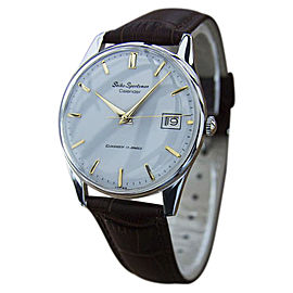 Seiko Sportsman Gold Plated and Stainless Steel / Leather Vintage 35mm Mens Watch