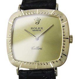Rolex Cellini 18K Gold / Leather Vintage 31mm Mens Watch