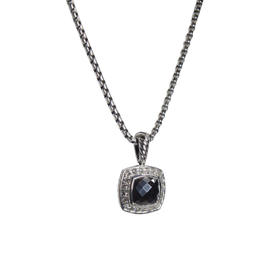 David Yurman Petite Albion 925 Sterling Silver with Hematine and 0.17ct Diamond Necklace