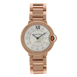 Cartier Ballon Bleu WE902026 18K Rose Gold Silver Diamond Dial 36mm Womens Watch