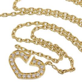 Cartier 18K Yellow Gold C Heart Diamonds Pendant Necklace