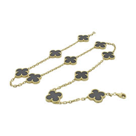 Van Cleef & Arpels 18K Yellow Gold Alhambra 10 Motifs Onyx Necklace