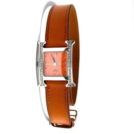 Hermes Stainless Steel Leather Orange Dial 21mm Womens Watch