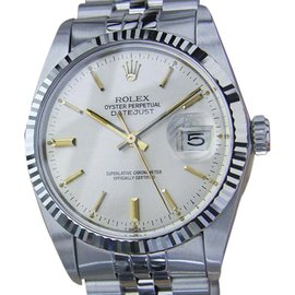 Rolex Datejust 16014 18K Yellow Gold / Stainless Steel with Silver Dial Vintage 36mm Mens Watch