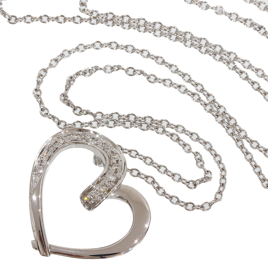 "Image of ""Ponte Vecchio 18K White Gold & 0.10ct. Diamonds Heart Pendant Necklace"""