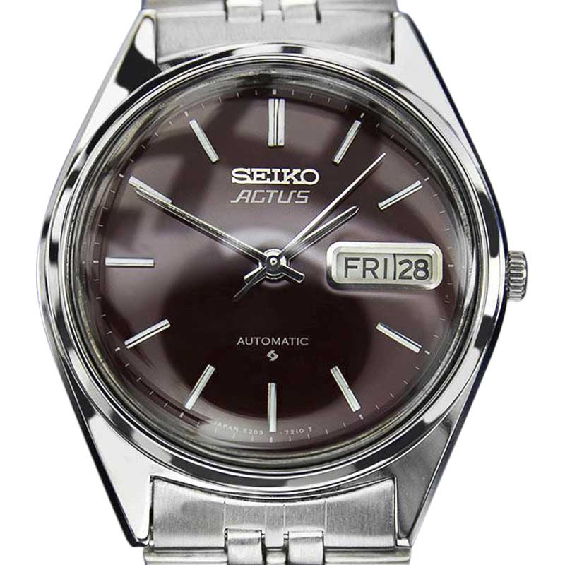 "Image of ""Seiko Actus Stainless Steel Wine Red Dial Automatic 35mm Mens Watch"""