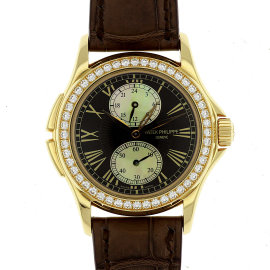 Patek Philippe Calatrava Travel Time 4934 R 18K Rose Gold & Leather Manual 35mm Womens Watch