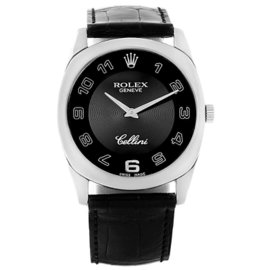 Rolex Cellini Danaos 4233 18K White Gold & Leather Black Dial Manual 34mm Unisex Watch