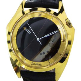 Zodiac Gold Plated and Stainless Steel Natural Onyx Mystery Dial 35mm Mens Dress Watch c1960