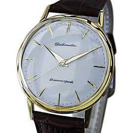 Seiko Seikomatic Gold Plated Stainless Steel & Leather Automatic 35mm Mens Watch 1960s