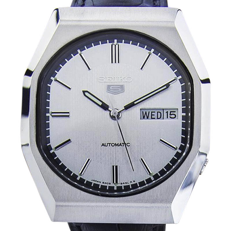"""Image of """"Seiko Day Date Stainless Steel & Leather Automatic 36mm Mens Watch"""""""