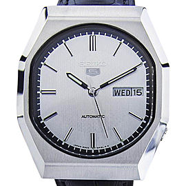 Seiko Day Date Stainless Steel & Leather Automatic 36mm Mens Watch