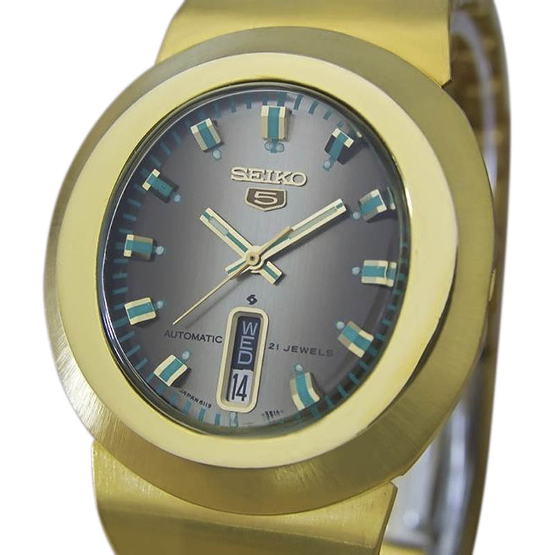 "Image of ""Seiko 5 6119 Gold Plated Stainless Steel Automatic 35mm Mens Watch"""