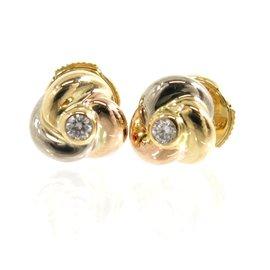 Cartier 18K White Rose Yellow Gold Trinity Diamond Pierced Earrings