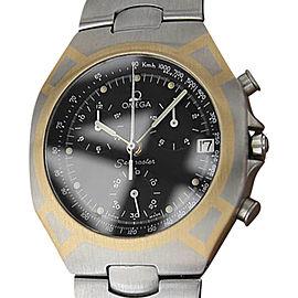 Omega Seamaster Polaris 18K Gold & Stainless Steel Black Dial Quartz 38mm Mens Watch