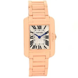 Cartier Tank Anglaise W5310013 18K Rose Gold & Silver Dial 23mm Womens Watch