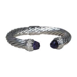 David Yurman 925 Sterling Silver with Amethyst & Diamond Cuff Bracelet