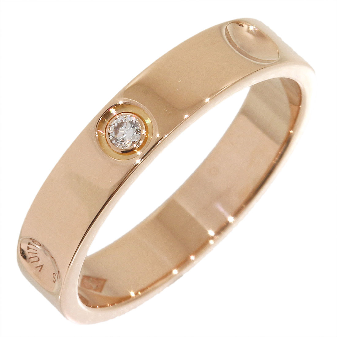 "Image of ""Louis Vuitton 18K Rose Gold & 1P Diamond Empreinte Ring Size 4.75"""