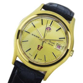 Rado Purple Horse Gold Plated Stainless Steel & Leather Automatic 37mm Mens Watch 1960s