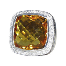 David Yurman Albion Sterling Silver with Citrine and Diamond Ring Size 5.5